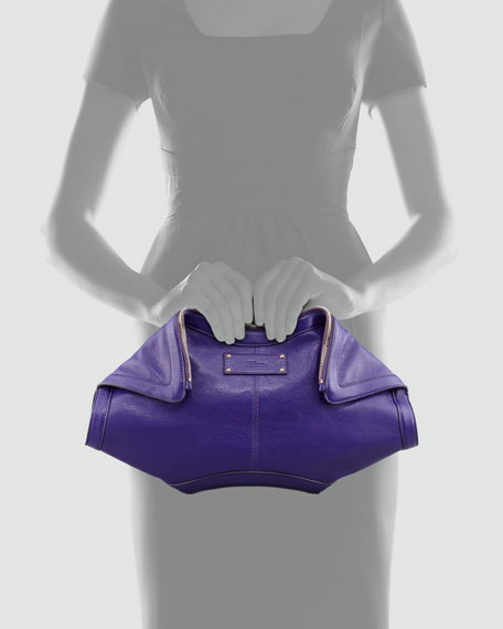 De-Manta Leather Clutch Bag, Purple