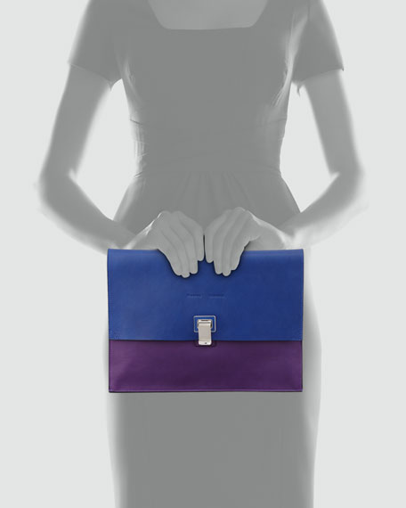 Large Bicolor Lunch Bag Clutch, Blue/Purple