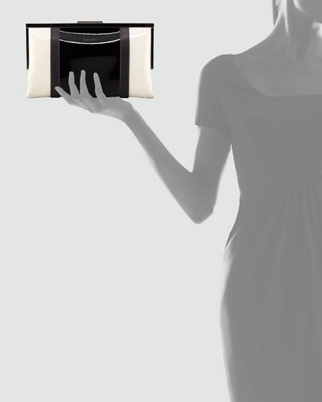 Bicolor Framed Patent Clutch Bag, Gray/White