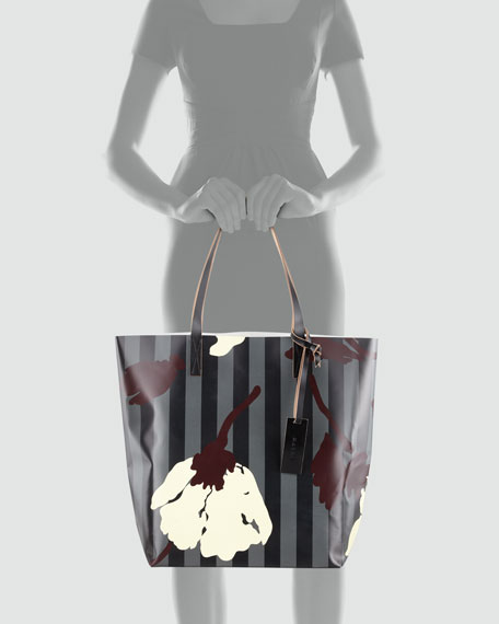 Floral-Print Striped PVC Shopping Bag