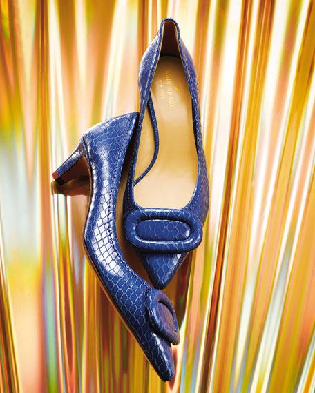simon snake-print kitten-heel pump