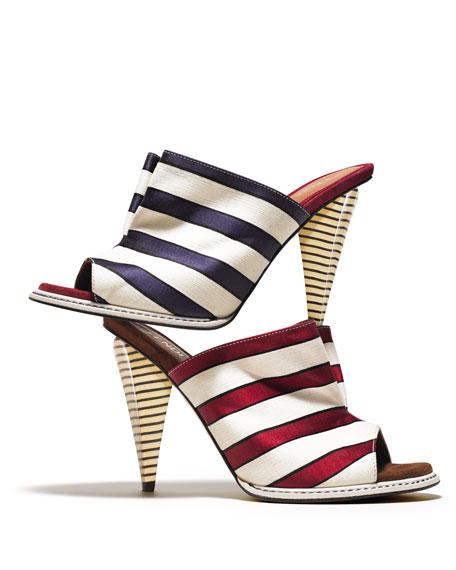 Striped Satin Slide