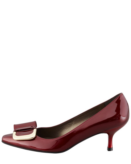 Trophy Patent Leather Low-Heel Ornament Pump