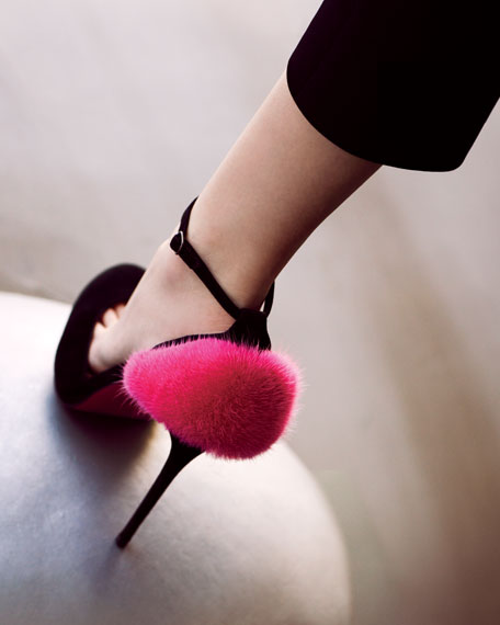 Crazy Fur Suede Red Sole Pump