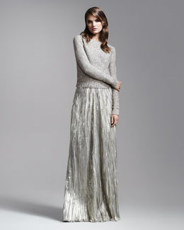 Oscar de la Renta Sequined Sweater & Lame Pleated Long Skirt