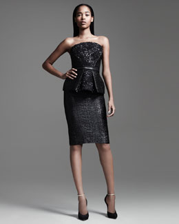 Monique Lhuillier Sequined Peplum Bustier Top, Slim Leather Belt & Textured Pencil Skirt