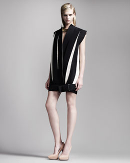 Lanvin Paneled Pleated Dress