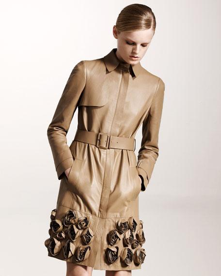 Rosette-Hem Leather Trench Coat
