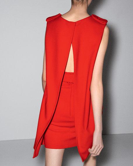 Cape-Back Belted Dress