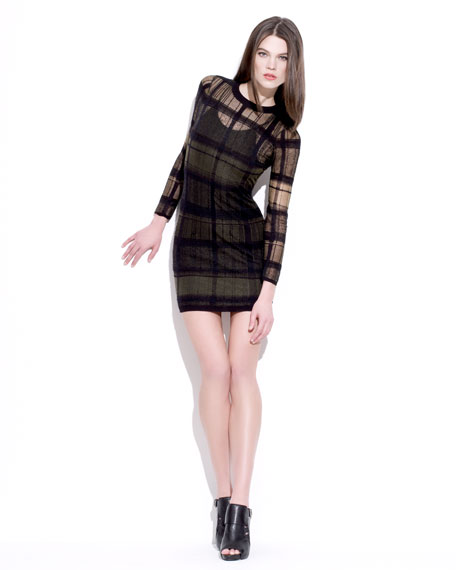 Trompe l'Oeil Plaid Dress