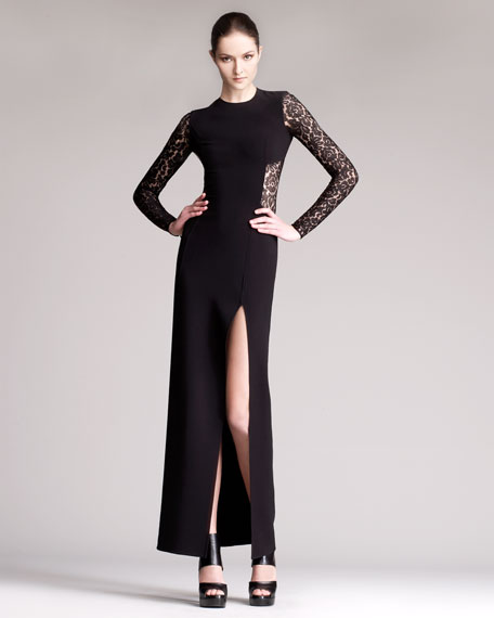 Lace Inset Side-Slit Gown
