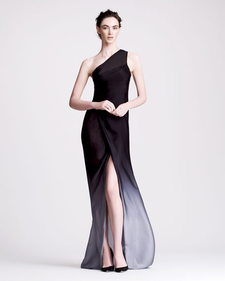 Ombre One-Shoulder Gown