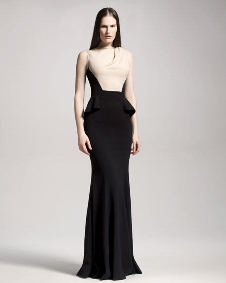 Colorblock-Bodice Gown