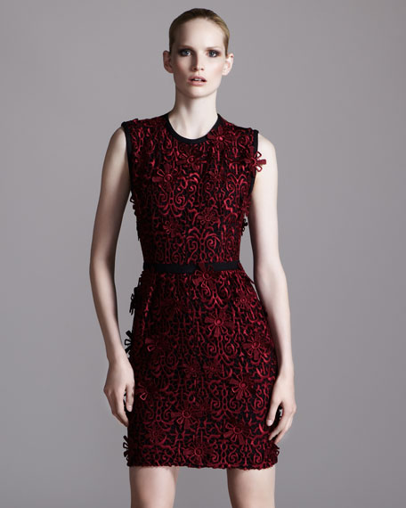 Contrast-Trim Lace Dress