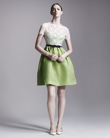 Lace-Bodice Organza Dress, Green/Ivory