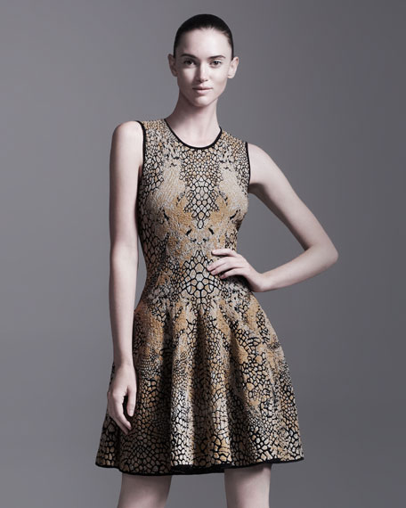 Leopard & Dragonfly Puckered Jacquard Dress
