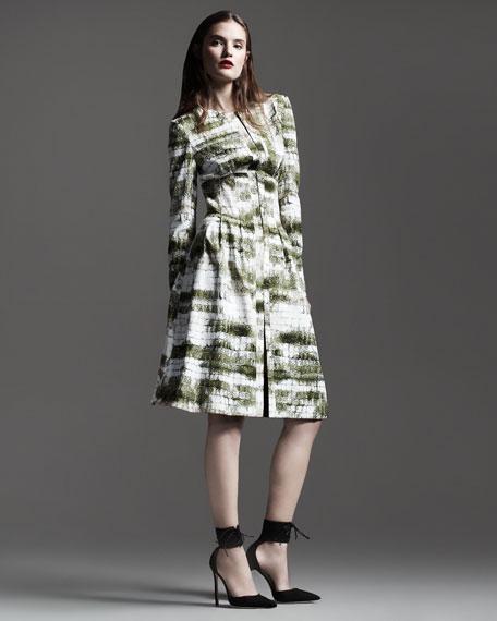 Croc-Print Silk Trenchcoat