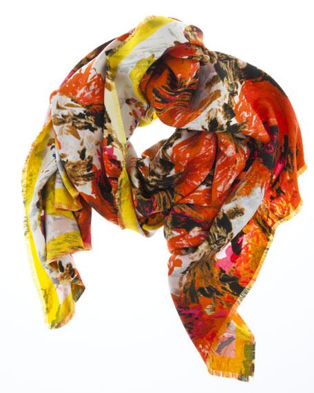 Botanical Waves Silk Scarf