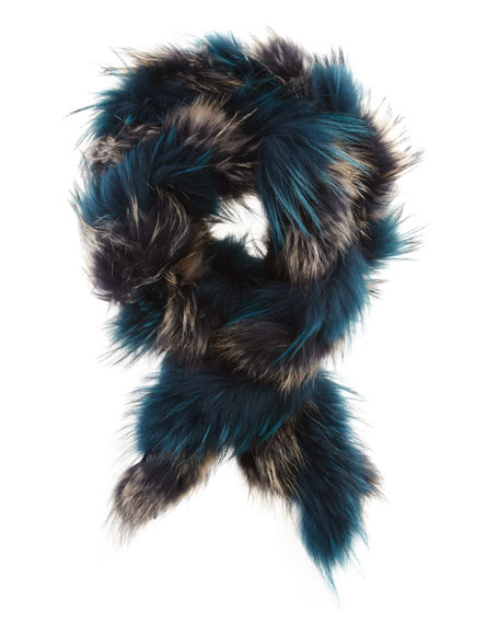 Extra-Long Twisted Raccoon Fur Scarf, Teal