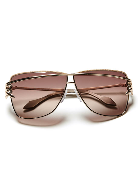 Futuristic Serpent-Temple Sunglasses, Rose Golden