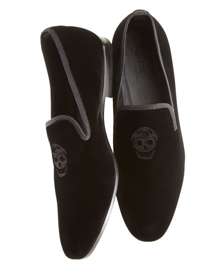 Embroidered Skull Velvet Loafer