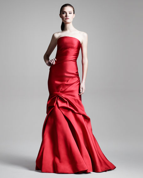Strapless Sheath Gown with Trumpet Skirt