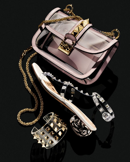 Rockstud Small PVC Lock Crossbody Bag