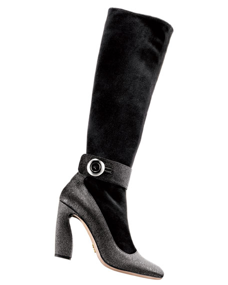 Stretch Suede Mary Jane Boot