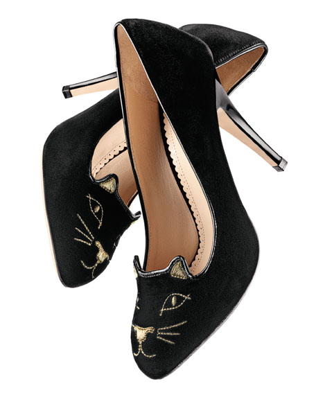Cat-Face Velvet Pump