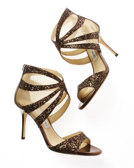Lali Glittered Mesh-Inset Sandal