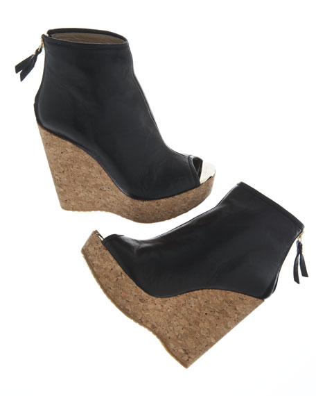 Paw Cork-Wedge Leather Bootie