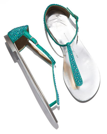 Crystal-Strap Suede Thong Sandal
