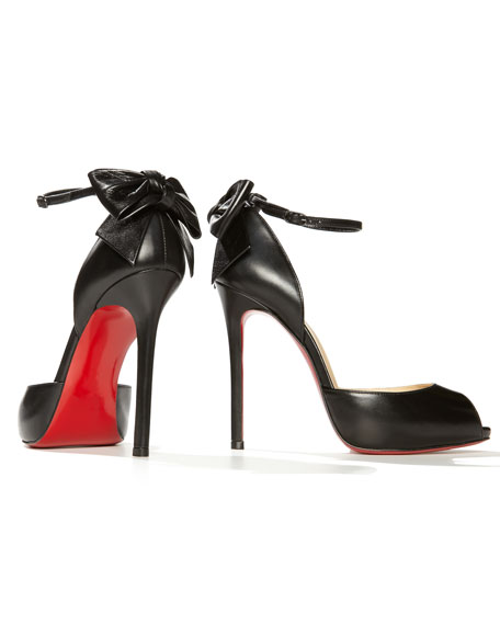 Dos Noeud Back-Bow d'Orsay Red Sole Pump, Black