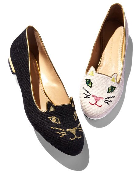 Kitty Cat-Embroidered Slipper, Black