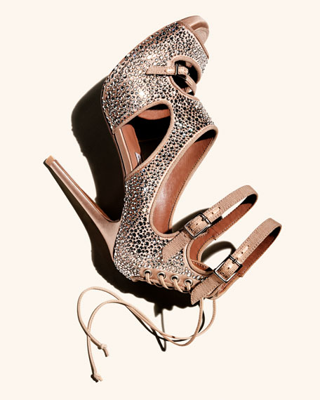 Bailey Crystal-Covered Lace-Up Sandal