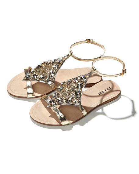 Embellished Lame Sandal