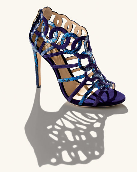 Suede/Python Ring Cage Sandal