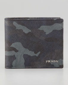 prada blue camo wallet