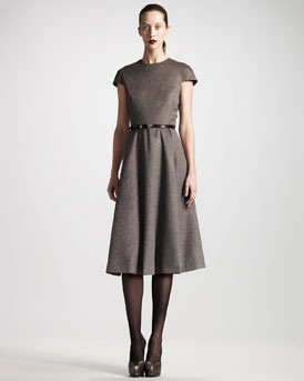 THE ROW A-Line Dress & Skinny Python Belt