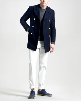 Band of Outsiders Wool Pea Coat, Triangle-Stripe Sweater & Slim Chino Pants
