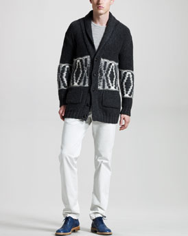 Band of Outsiders Diamond-Pattern Cardigan, Long-Sleeve Slub Jersey Tee & Slim Chino Pants