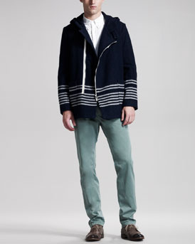 Band of Outsiders Hooded Wool Coat, Yarn-Dyed Oxford Shirt & Slim Chino Pants