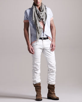 Balmain Short-Sleeve Military Shirt, Tunisian Henley & White Biker Jeans
