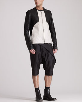 Rick Owens Paneled Leather Bomber Jacket & Draped Swing Shorts