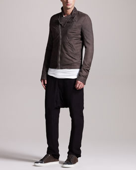 Rick Owens New Safari Biker Jacket, Crewneck Tee & Drop-Crotch Pants