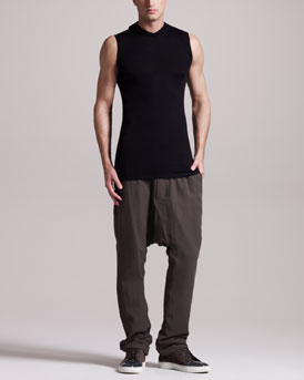 Rick Owens Sleeveless Merino Hoodie & Silk Drop-Crotch Pants