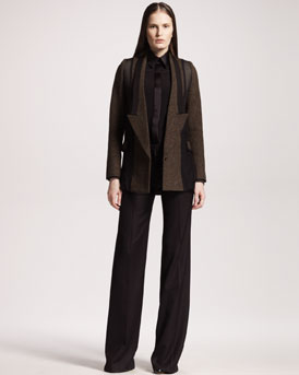Givenchy Tweed/Chiffon Blazer, Long-Sleeve Silk Blouse & Wide-Leg Chevron Pants
