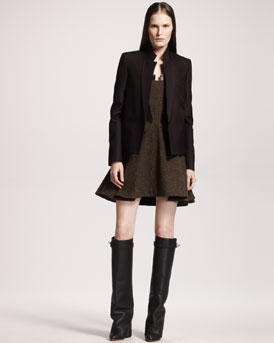 Givenchy One-Button Silk-Wool Jacket & Tweed A-Line Dress
