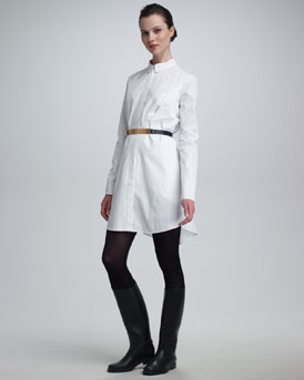 Maison Rabih Kayrouz Bib-Front Shirtdress & Metal-Front Leather Belt