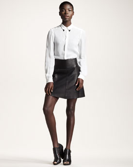ALC Blouse & Leather Skirt